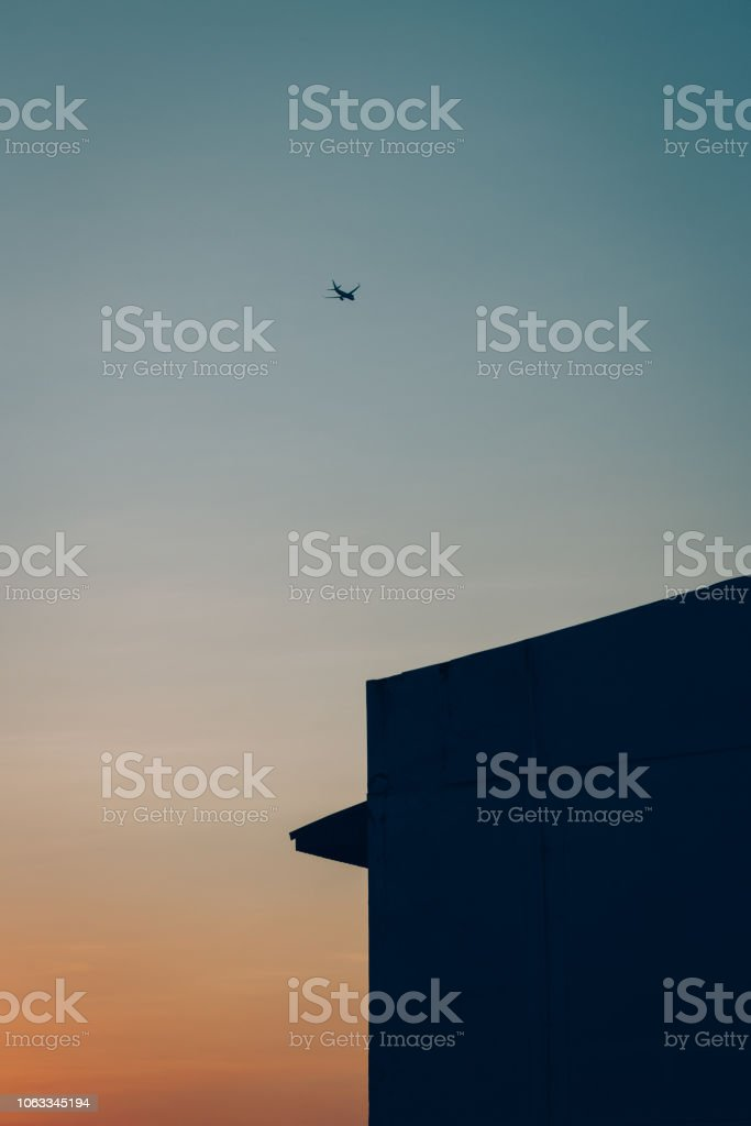 Plane on beautiful sky  background with copy space. stock photo
