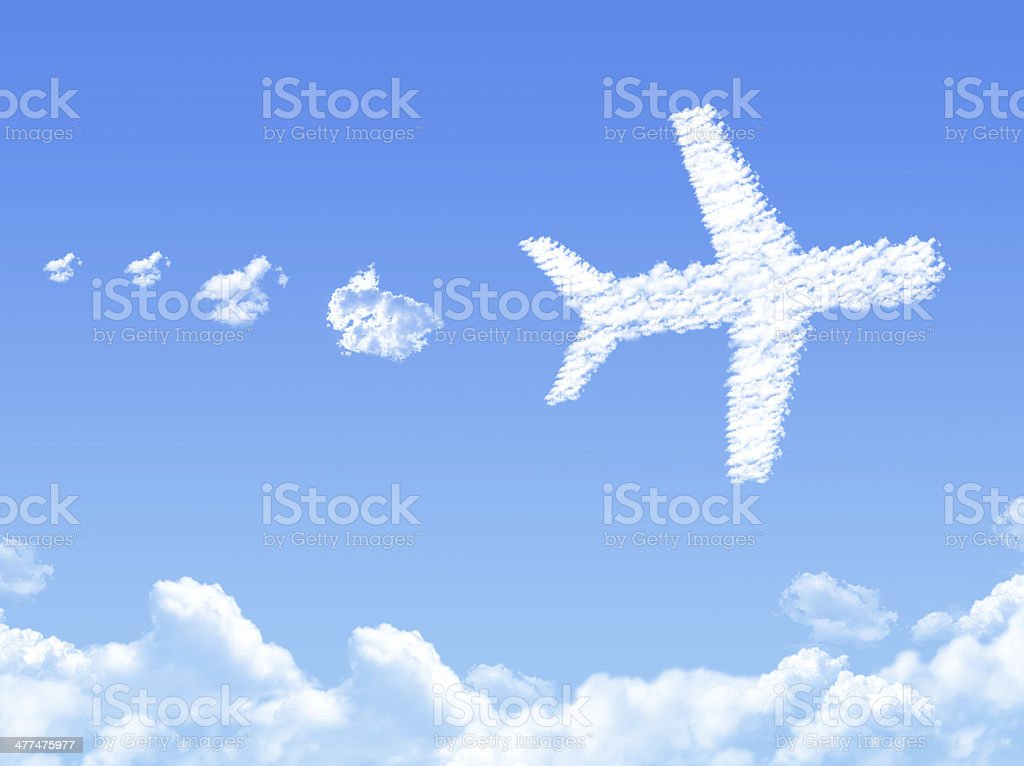 Plane on Cloud shaped ,dream concept royalty-free stock photo