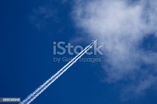 589538650 istock photo Plane on the background of blue sky and clouds 589538948