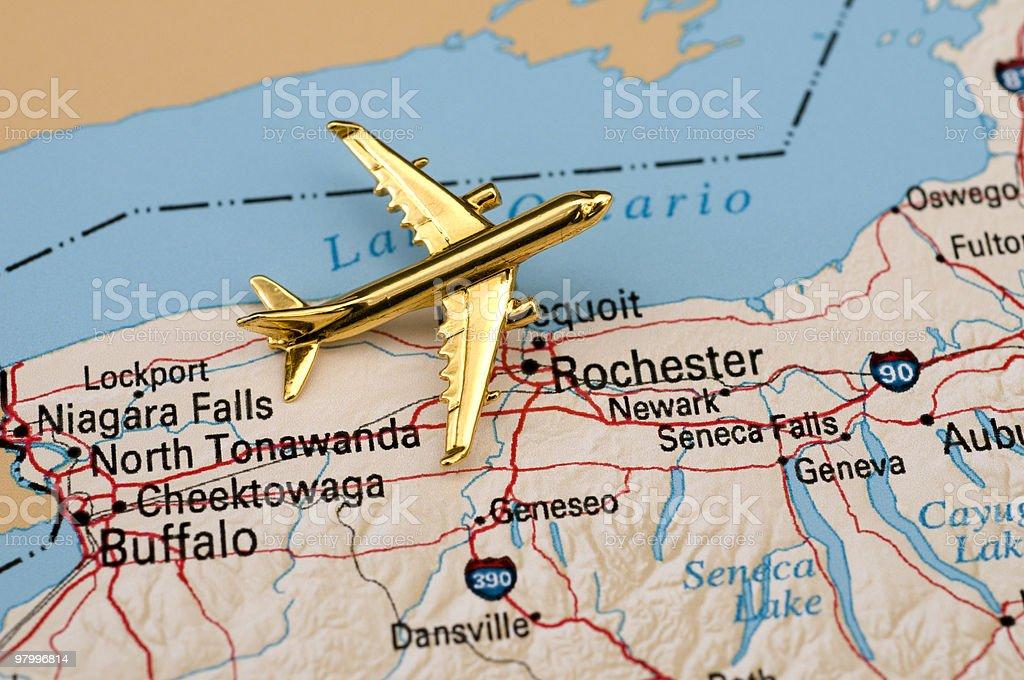 Plane Over New York stock photo