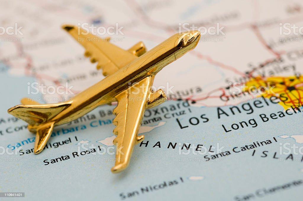 Plane Over LA stock photo