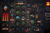 Control panel in a plane cockpit