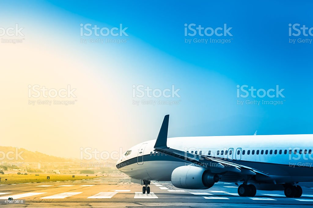 Plane Rolling to Take Off stock photo