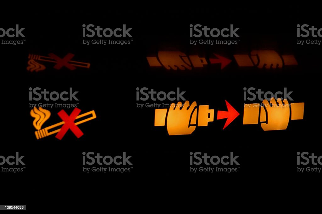 Plane Safety Signs stock photo