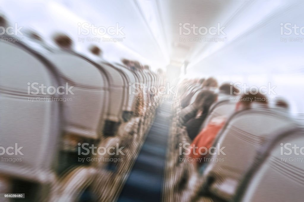 plane shakes during turbulence flying through the air hole. stock photo