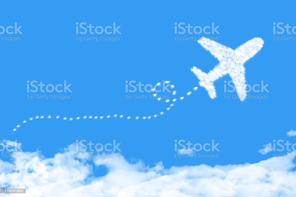 plane shape clouds flight route with start point and dash line trace