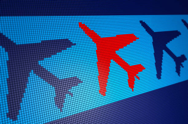 Plane Symbol on Pixelated Background stock photo