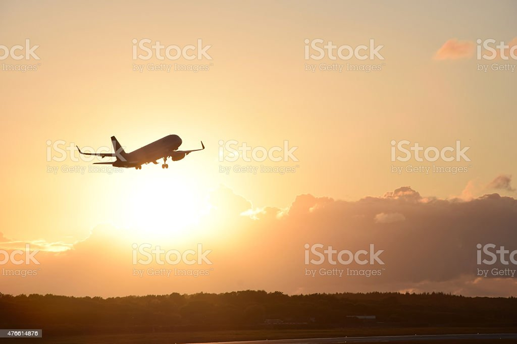 Plane take off stock photo