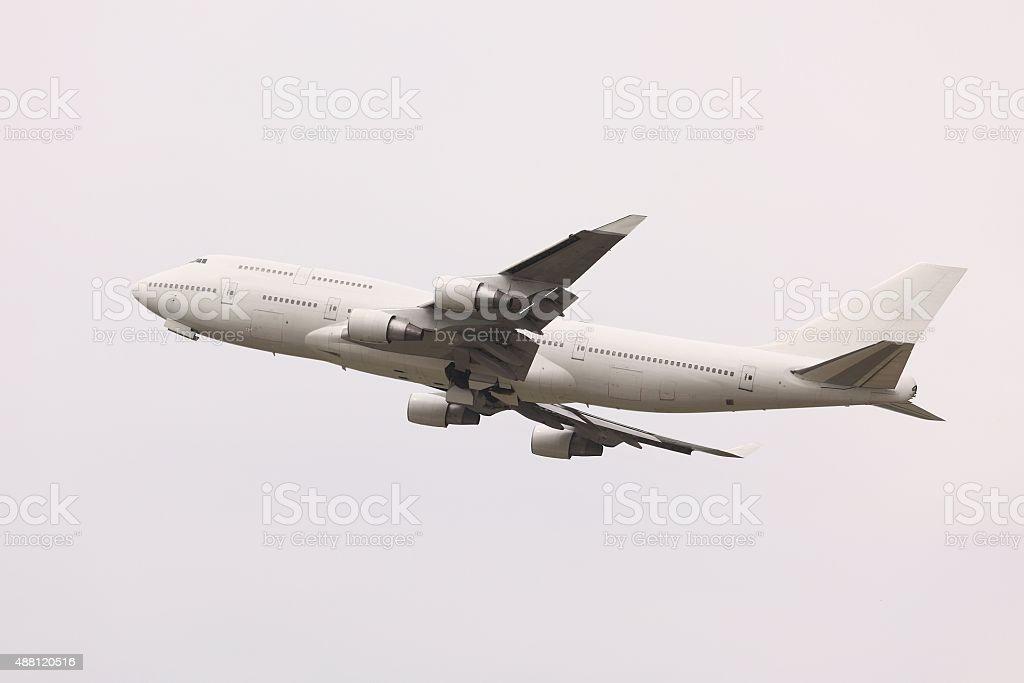 Plane taking off stock photo