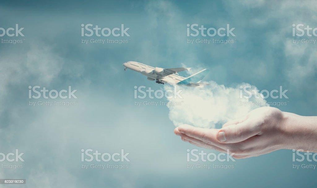 Plane taking stock photo