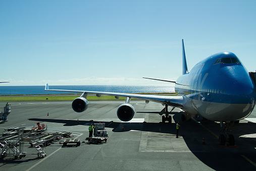 Plane Tarmac Reunion Island Airport Rollandgarros Gillot France Stock Photo - Download Image Now