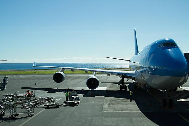 Plane, Tarmac, reunion island, Airport Rolland-Garros, Gillot France stock photo