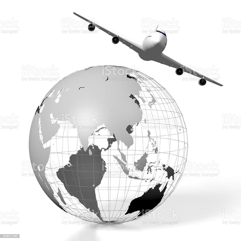 3D plane traveling concept stock photo