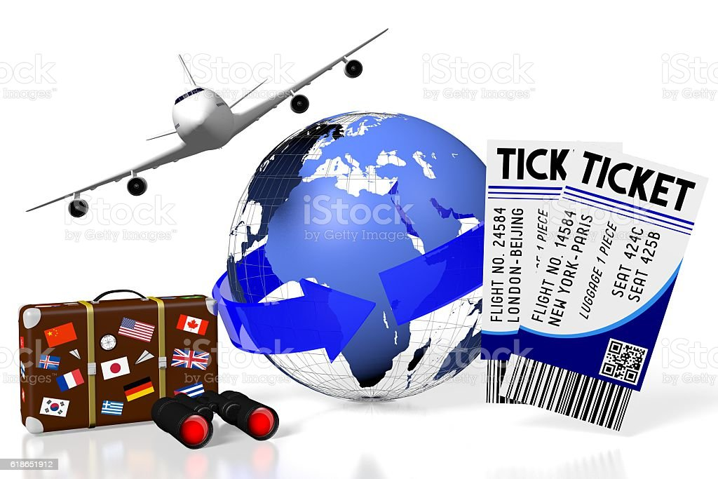 3D plane traveling, tourism stock photo