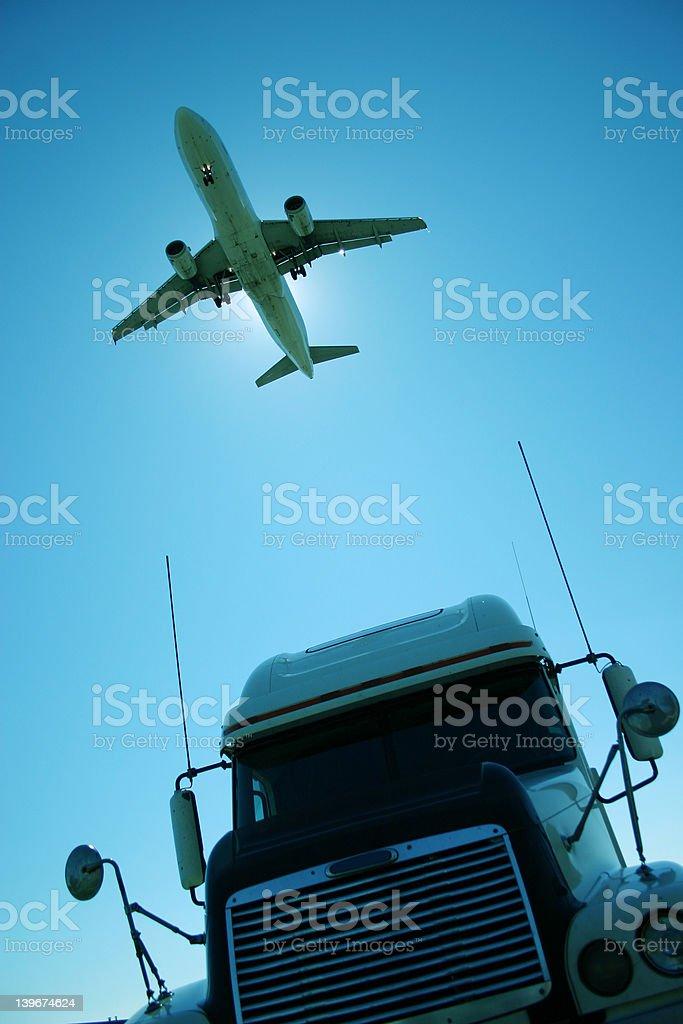 plane truck royalty-free stock photo