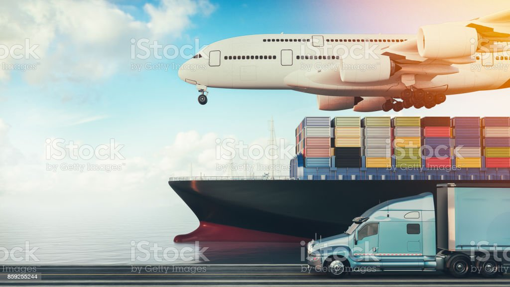 Plane trucks are flying towards the destination with the brightest. stock photo