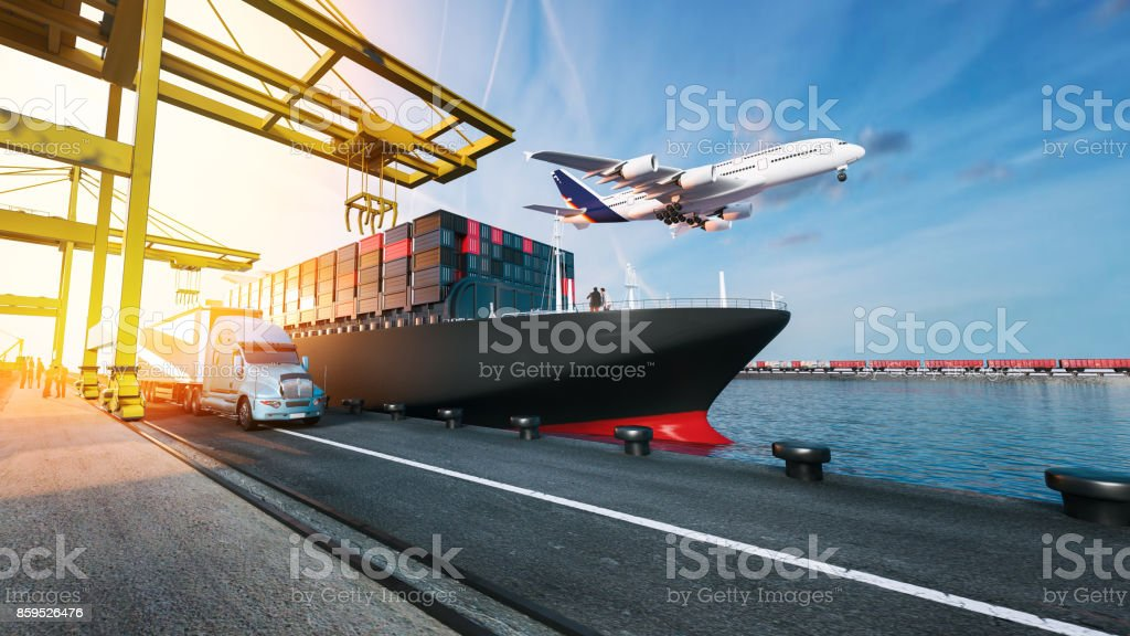 Vliegtuig vrachtwagens vliegen naar de bestemming met de helderste. - Royalty-free Auto Stockfoto