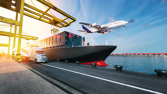 istock Plane trucks are flying towards the destination with the brightest. 859526476