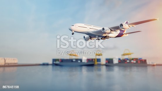 istock Plane trucks are flying towards the destination with the brightest. 867645158