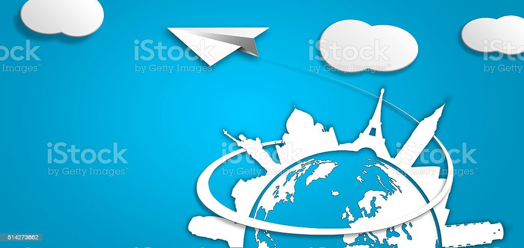 Plane visiting tourist cities in the world illustration white bl stock photo