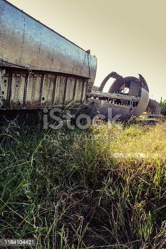 istock Plane wreck at abandon field 1164104421