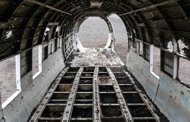 Plane wreck interior Inside the old DC-3 plane wreck in southern Iceland sólheimasandur stock pictures, royalty-free photos & images