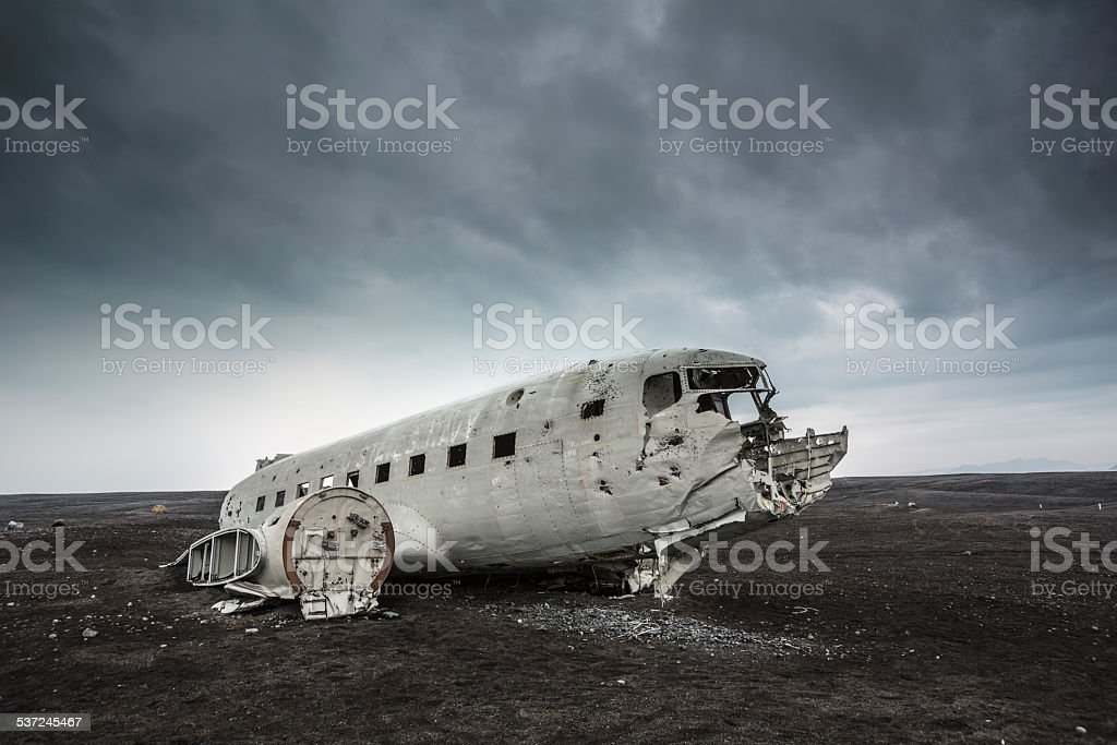 Plane Wreckage , Iceland stock photo