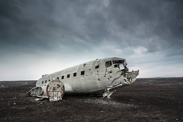 Plane Wreckage , Iceland Wreck of a plane crashed in the middle of the nowhere. The plane ran out of fuel and crashed in a desert not far from Vik, South Iceland sólheimasandur stock pictures, royalty-free photos & images