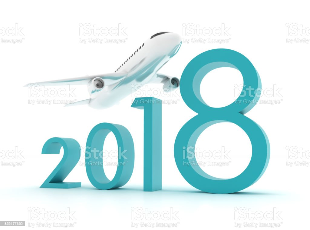 3D plane - year stock photo