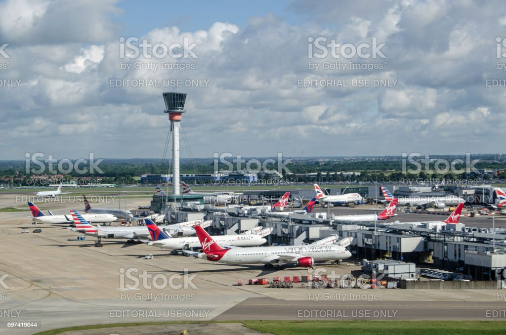 Planes at Heathrow Terminal 3, London stock photo