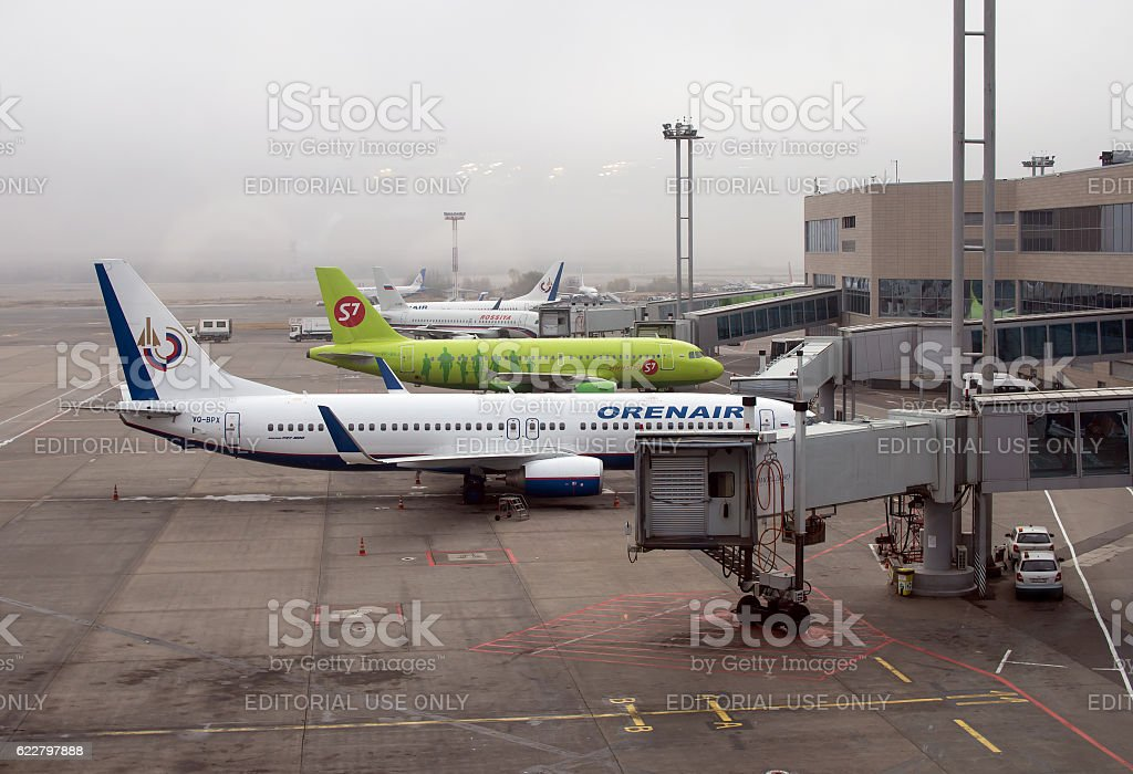 Planes at the quay ramp Domodedovo airport in foggy weather stock photo