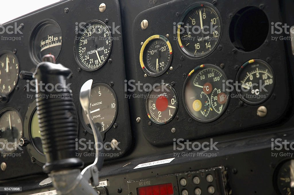 Plane's cockpit - closeup royalty-free stock photo
