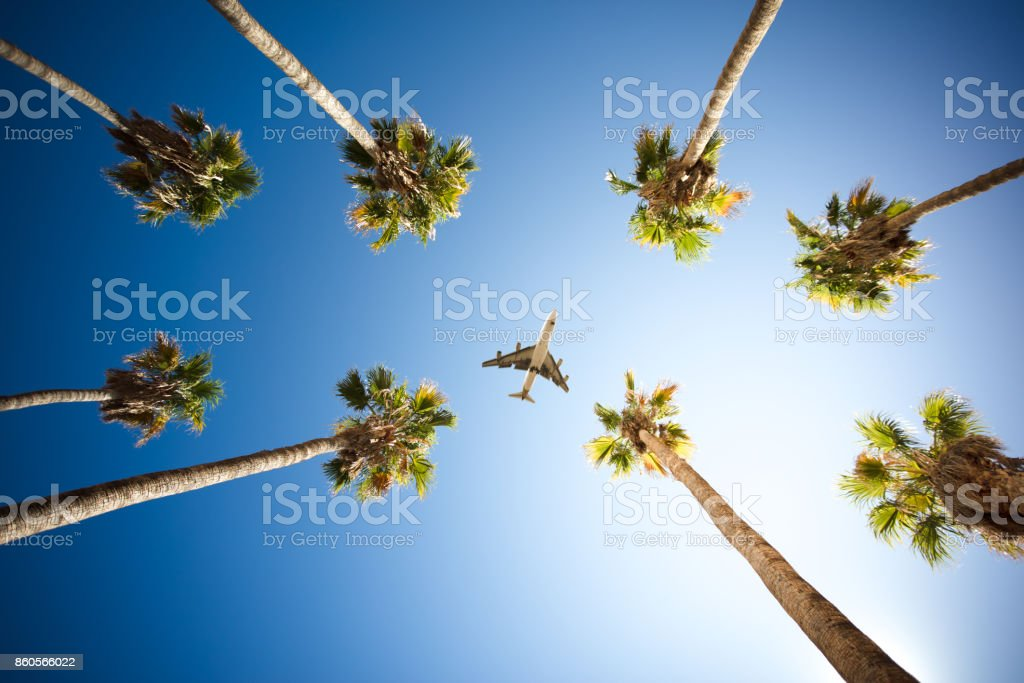 Planes flying over Los Angeles stock photo