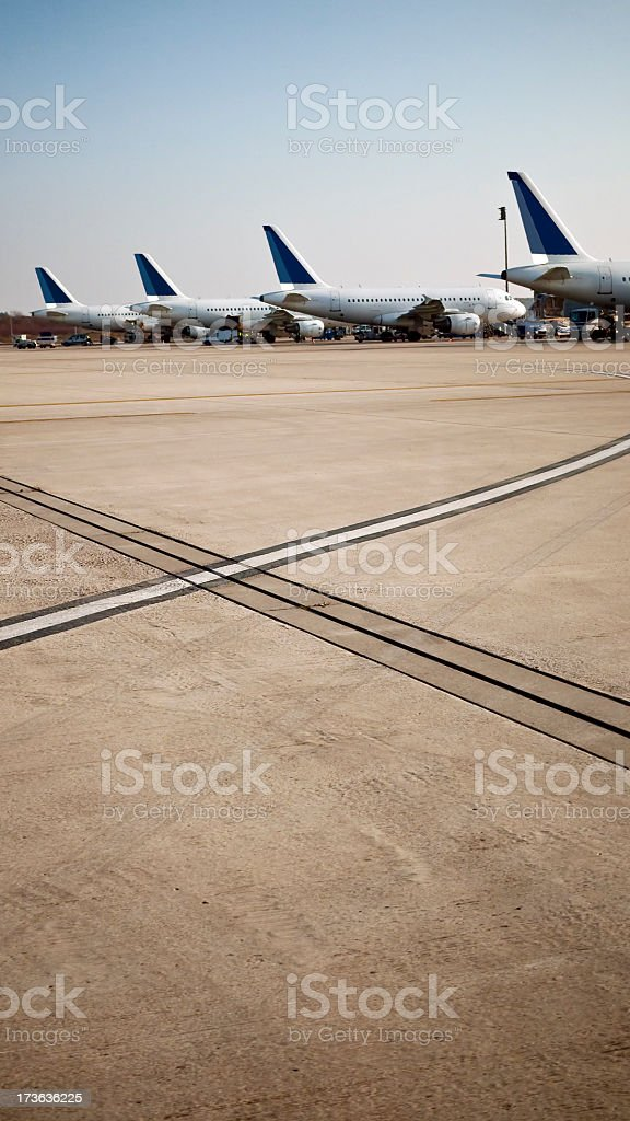 Planes in line royalty-free stock photo