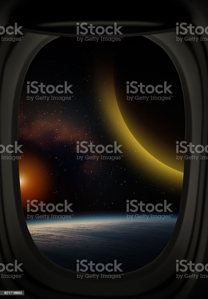 Planet and stars. stock photo