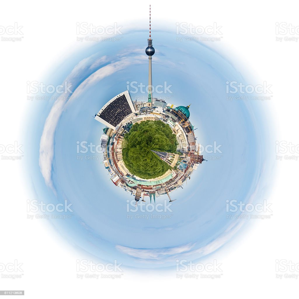 Planet Berlin, Skyline of Berlin, Germany, on a tiny planet stock photo