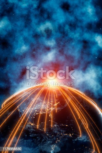 istock Planet Earth Americas With Connection Lines 1179956530