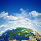Planet earth and beautiful blue sky