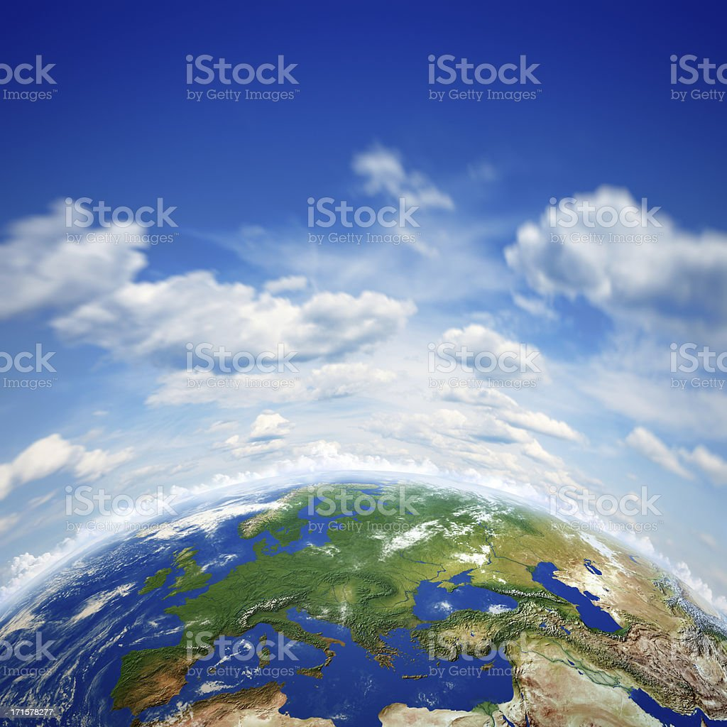 Planet earth and beautiful blue sky stock photo
