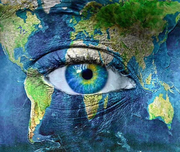 Planet earth and blue human eye Planet earth and blue human eye -