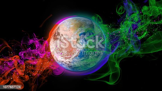istock Planet earth and colorful nebula. Fantasy space scene. Green and Orange 1077637124