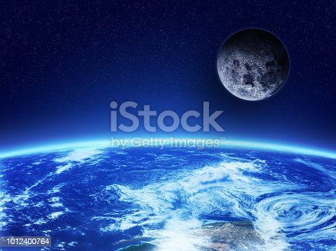 istock Planet Earth and moon 1012400764