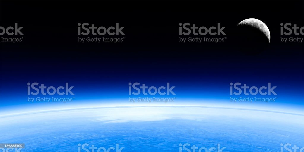 planet earth and moon stock photo