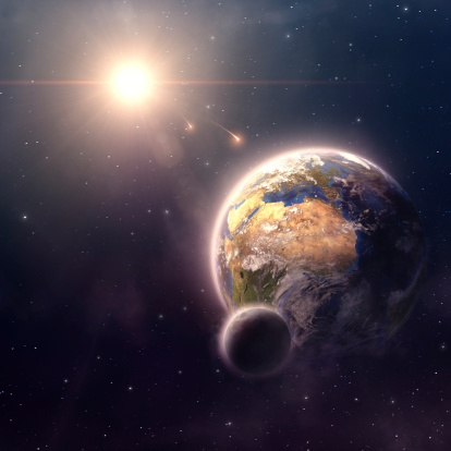 Planet Earth, moon and sun in outer space