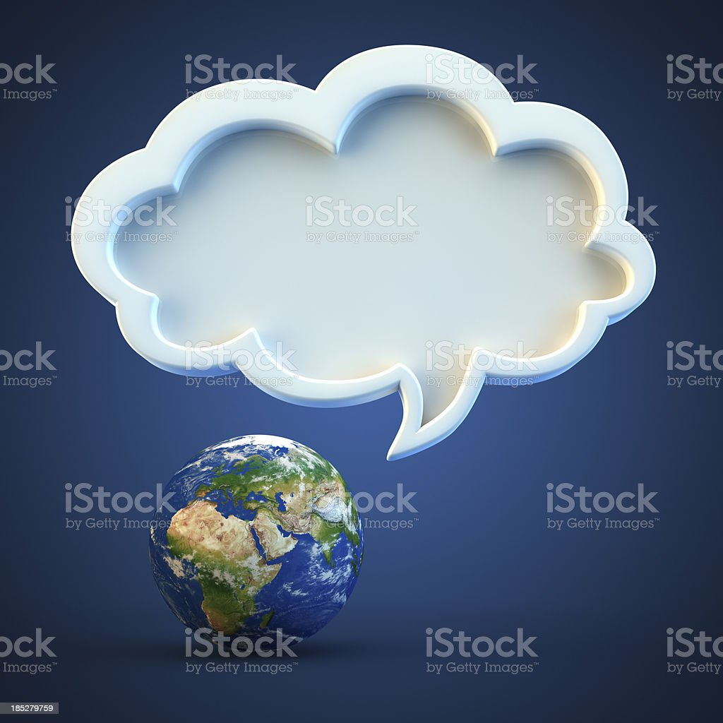 Planet earth and speech bubble isolated on blue background royalty-free stock photo