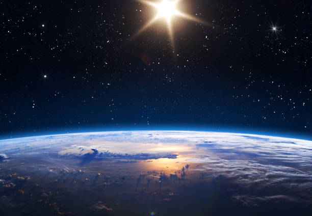 Planet Earth and Sun. Earth, Sun and Space. Planet earth with sunrise in the space. Elements of this image furnished by NASA. planet space stock pictures, royalty-free photos & images