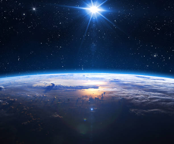 Planet Earth and Sun. Earth, Sun and Space. Planet earth with sunrise in the space. Elements of this image furnished by NASA. planet earth stock pictures, royalty-free photos & images