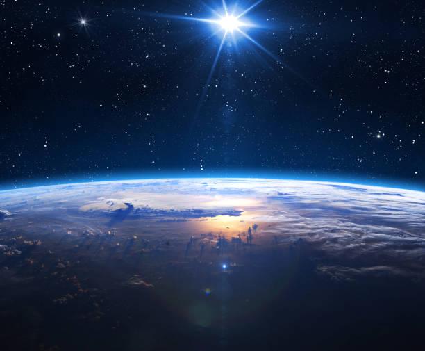 planète terre et soleil. - planete terre photos et images de collection