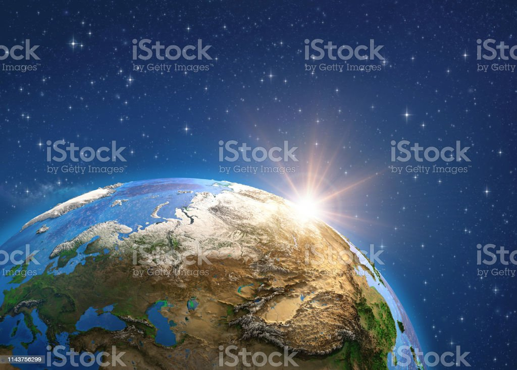 Planet Earth in deep space, focused on Europe and Asia, sun shining...