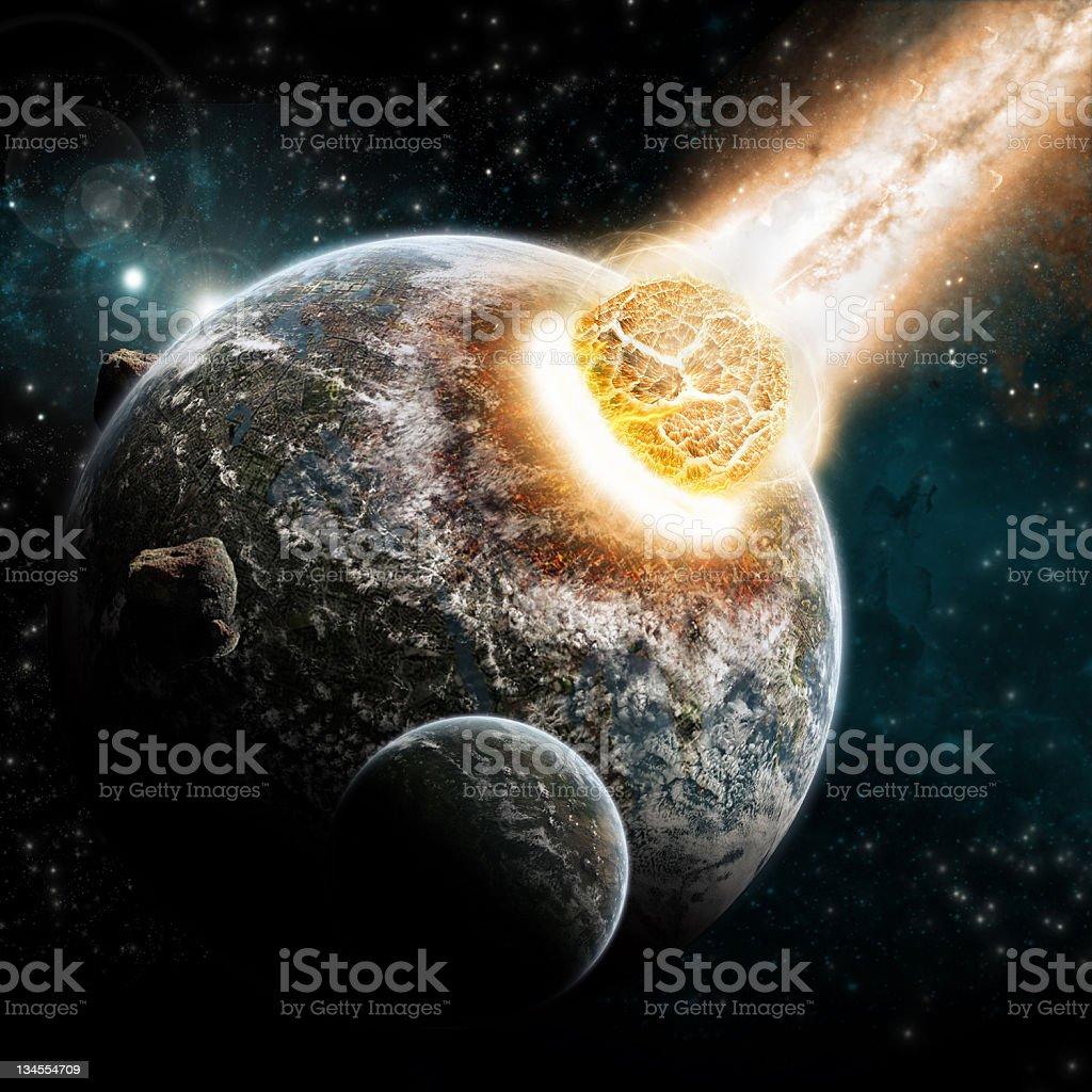 Planet earth armageddon royalty-free stock photo